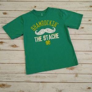 Youth Boys Shamrockin' The Stache Green T-shirt